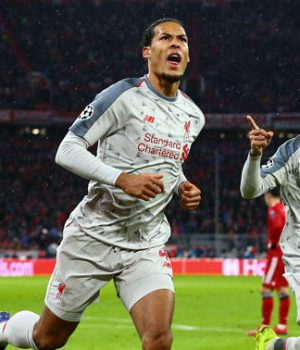 Virgil van Dijk and mates celebrate victory over Bayern in Munich