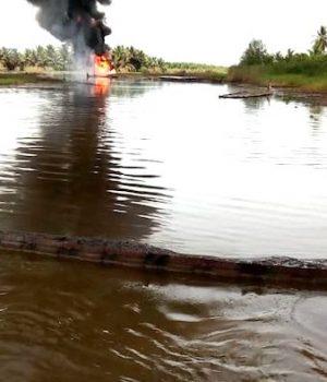 Burning oil well