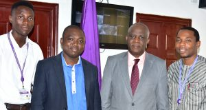 Elemoso Temidayo, Dr Ukweanya, Vice Chancellor ,FUTA, Professor Joseph Fuwape and Dr Dr. Omamuyovwi Ijomone