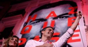 """PM Pedro Sánchez told supporters """"the future has won and the past has lost"""""""