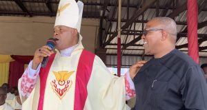 Peter Obi with Bishop Benson Okoye