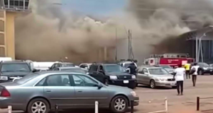 Part of the Sam Mbakwe International Cargo Airport, on fire