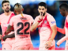 Suarez (second from right) scored his 22nd La Liga goal of the season from the penalty spot