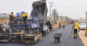 A typical road reconstruction in Lagos