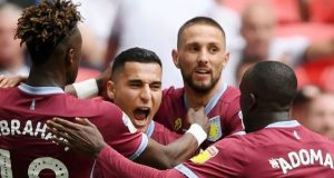 Aston Villa players celebrate return to premiership