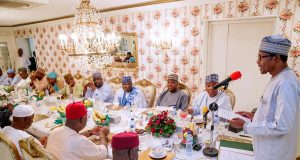 Buhari with leadership of the 8th National Assembly