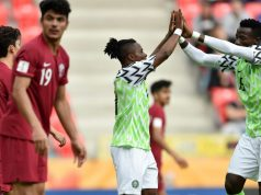 Flying-Eagles players celebrate Qatar thrashing