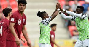 Flying-Eagles players celebrate Qatar thrashing