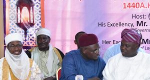 Commissioner for home affairs, Abdulhakeem Abdulateef with Gov. Ambode during an IIftar organised by state govt