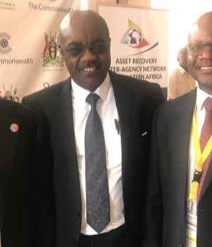 Magu, Commonwealth Secretariat, Dr Roger Koranteng and Director General, Anti- Corruption Bureau, Malawi, Mr Reyneck Matemba, in Kampala, Uganda