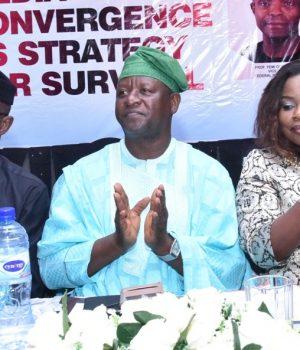 Laolu Akande, media aide to Osinbajo, Kehinde Bamigbetan and Funke Egbemode, NGE President