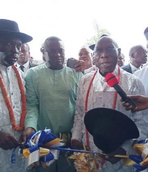 • Former President Obasanjo (second right) inaugurating Dantinajo Gold Resort, Oleh, Delta State...on Saturday