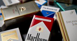 Various brands of Philip Morris cigarettes, including Marlboro, Virginia Slims, Basic, Benson & Hedges, and Merit,
