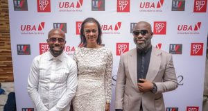Co-owner Urban Vision Limited, Akins Akinkugbe; Group Head Corporate Communications/ Executive Producer, The Men's Club, Bola Atta and Director The Men's Club Tola Odunsi, during the Season 2 Premiere of the movie