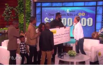 American TV host, Ellen DeGeneres presenting $1m donation to the Daniels