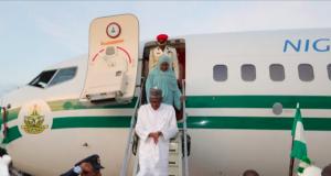 Buhari, Aisha return to Abuja after Umrah