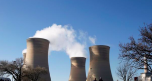Cooling towers of the Hendrina power station, located south of Middelburg, South Africa,