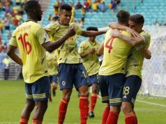 Colombia players jubilate