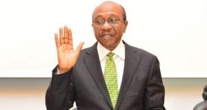 Godwin Emefiele being sworn in for second term