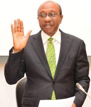 Godwin Emefiele being sworn in for second term