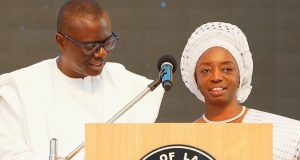Gov. Sanwo-OLU and wife, Dr. Ibijoke during the CAN Interdenominational Thanksgiving Service in honuor of the new administration in the State at the Deeper Life Bible Church, Gbagada, Lagos, on Sunday