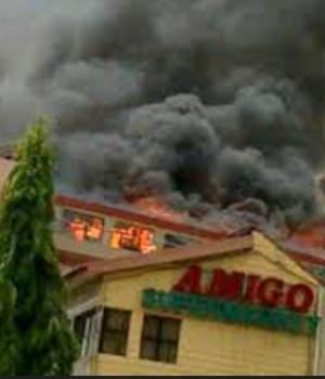 Amigos Supermarket on fire