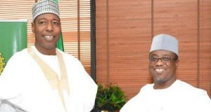 Borno Gov Prof. Babagana Umara Zulum and Dr. Maikanti Buru, during a visit to the NNPC office