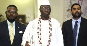 Political Specialist, Embassy of the USA in Nigeria, Arnold Abulime; Gani Adams; and Shashank Iye