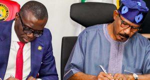 Gov. Sanwo-Olu and Sen. Mamora sign the agreement