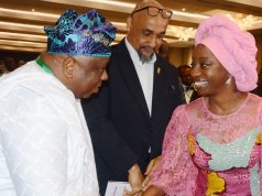 Dr. (Mrs). Ibijoke Sanwo-Olu (right) in a warm handshake with a member, House of Representatives, Dr. Babatunde Adejare (left),while a former Permanent Secretary, Lagos State Ministry of Health, Dr. Aderemi Desalu (middle), watches