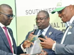 Governor, Babajide Sanwo-Olu; Babatunde Fowler and Executive Secretary, JTB,, Oseni Elamah