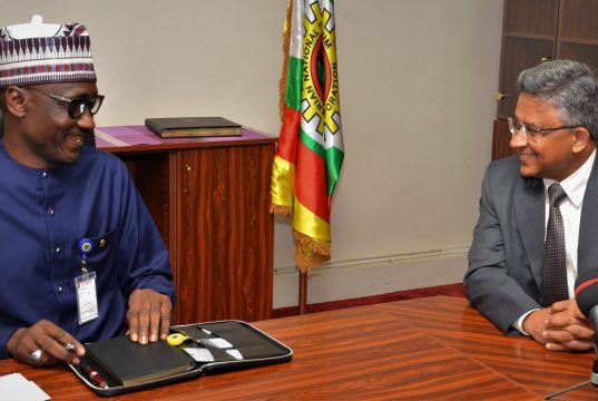NNPC GMD, Malam Melee Kyari with Indian High Commissioner to Nigeria, Abhay Thakur