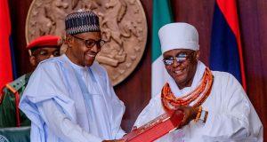 President Buhari with Oba of Benin, Omo N'Oba N' Edo, Ewuare II,