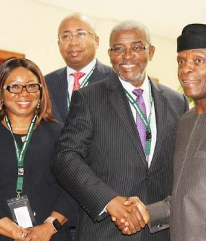 SEC's Ag Executive Director, Operations, Isyaku Tilde, Acting Director General, SEC Ms Mary Uduk, Managing Director, Central Securities Clearing System Plc, Haruna Jalo-Waziri, Chairman, Capital Market Masterplan Implementation Council, CAMMIC, Olutola Mobolurin and Vice President, Prof Yemi Osinbajo