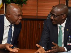 SPDC GMD Osagie Okunbor and Malam Melee Kyari of NNPC