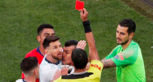 Messi and Gary Medel sent off