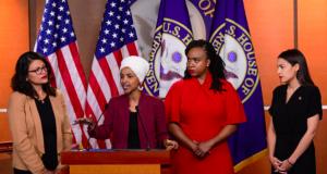 U.S. Reps Rashida Tlaib (D-MI), Ilhan Omar (D-MN), Alexandria Ocasio-Cortez (D-NY) and Ayanna Pressley (D-MA) hold a news conference