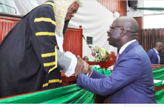 Gov. Godwin Obaseki of Edo with Speaker, House of Assembly
