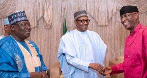 Sen. Ahmad Lawan, President Buhari and Sen. Ovie Omo-Agege