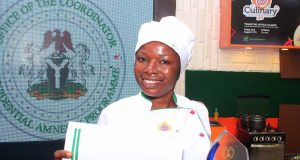 Ofoba Davies, winner, of the Culinary Talent Competition, first edition, from Rivers State, organized by Office of the Coordinator Presidential Amnesty Programme