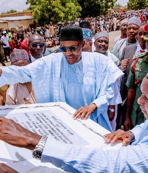 President Buhari commissioning of the reconstructed Shinkafi-Yandaki-Gafiya—Abdallawa-Dankaba road in Katsina