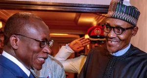 Buhari discussing with Beninoise President Patrice Talon in Japan