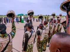 Buhari with the military of Operation Hadarin Daji