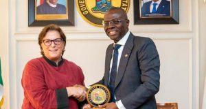 Claire Pierangelo, U.S. Consul General with Gov. Babajide Sanwo-Olu