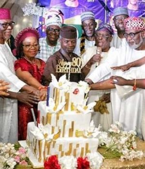 Osinbajo, Oshiomhole, Gambari, governors grace Oyegun's 80th birthday celebration