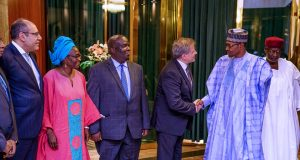 President Buhari with ILO officials