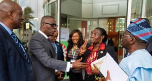 LASU VC, Prof. Ogundipe; Gov. Babajide Sanwo-Olu; Permanent Secretary, Ministry of Health, Dr. (Mrs) Titilayo Goncalves and former Minister of Health, Prof. Isaac Adewole,