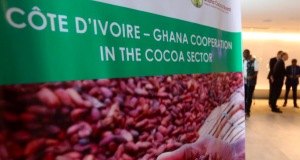 A billboard of Cocoa between Cote D' Ivoire and Ghana