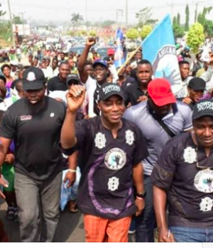 Protesters, including Sowore, leading one of the previous protests