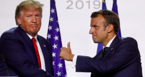 Presidents Donald Trump and Emmanuel Macron of U.S. and France